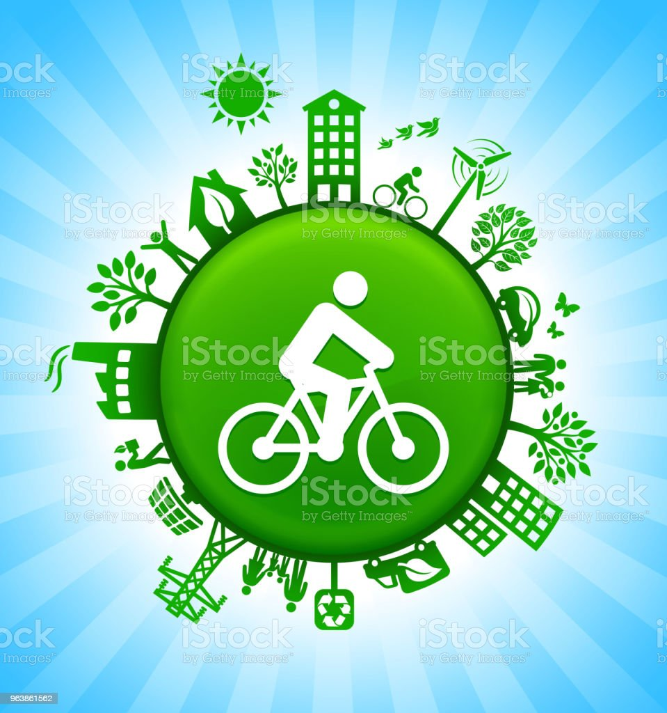 Man on the Bike Environment Green Button Background on Blue Sky - Royalty-free Alternative Energy stock vector