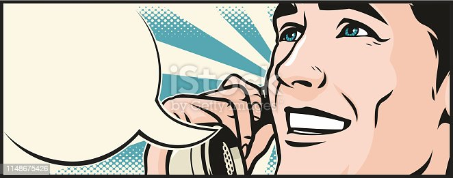 Retro style pop art illustration of a handsome young man laughing and talking on an old fashioned telephone. Blank speech bubble for your text.