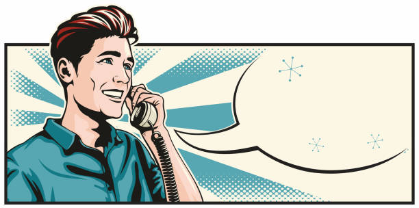 Man On The Phone vector art illustration