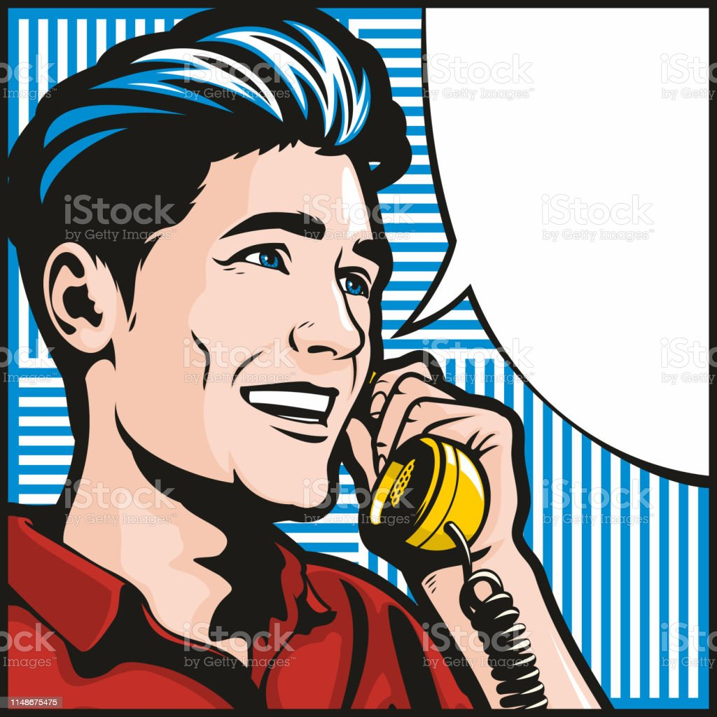 Man On The Phone vector art illustration