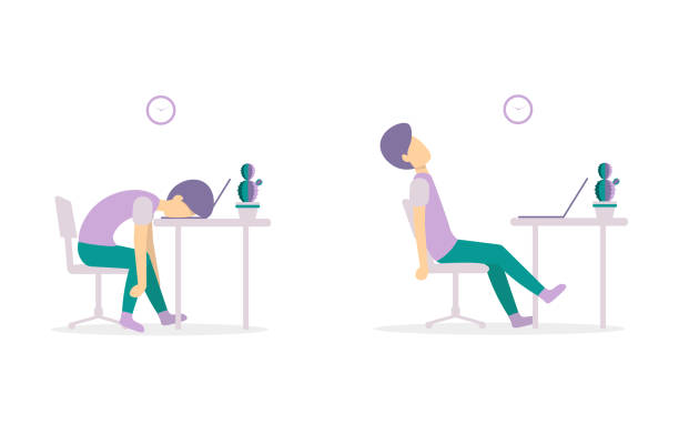 man on the table tired with laptop 2 versions vector art illustration