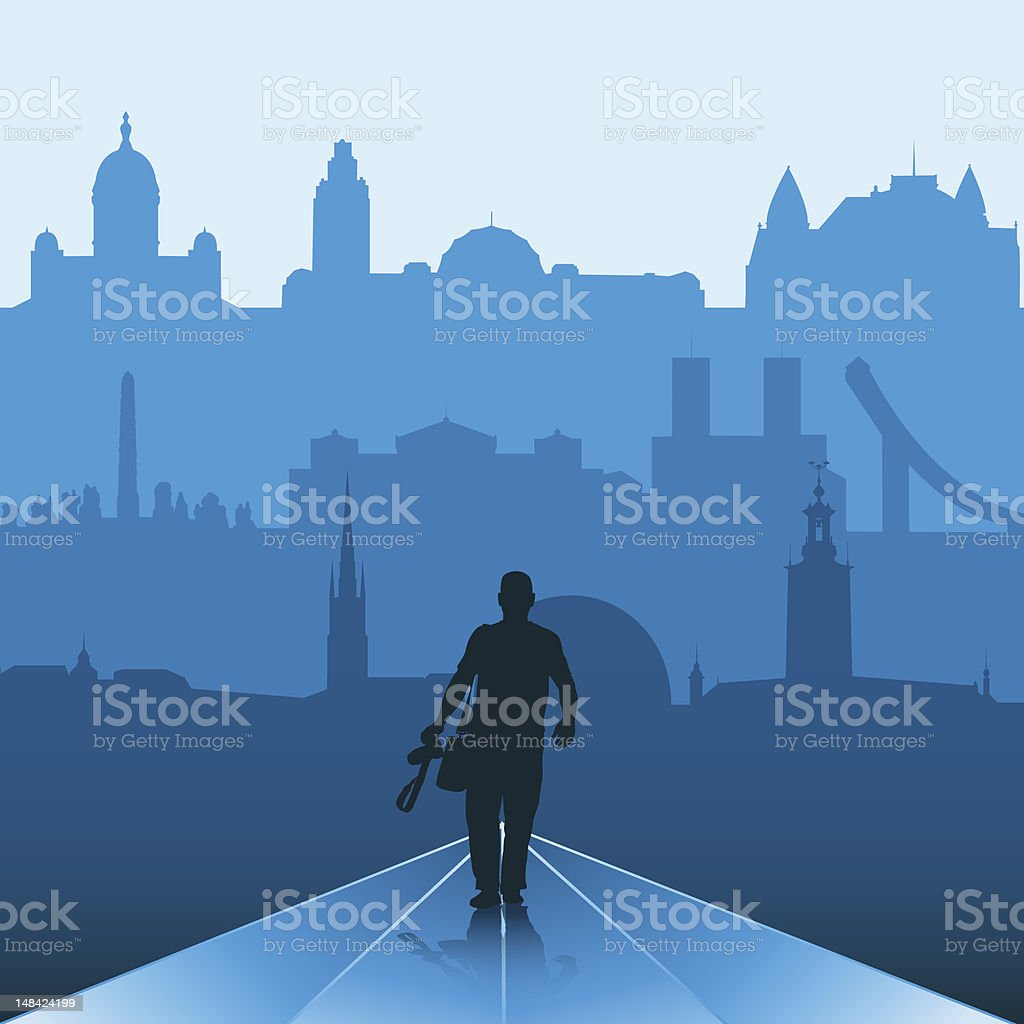 Man on the way to big city royalty-free stock vector art