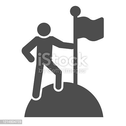 Man on top of mountain with flag solid icon. Discoverer, victory person symbol, glyph style pictogram on white background. Teamwork sign for mobile concept and web design. Vector graphics