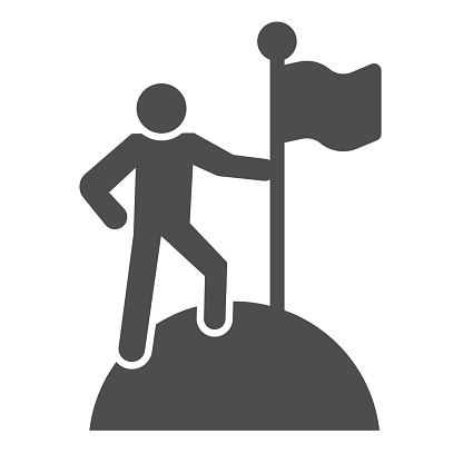 Man on top of mountain with flag solid icon. Discoverer, victory person symbol, glyph style pictogram on white background. Teamwork sign for mobile concept and web design. Vector graphics.