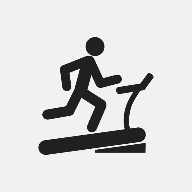 Man on treadmill icon illustration Man on treadmill icon illustration isolated vector sign symbol treadmill stock illustrations