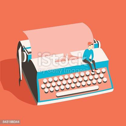 Man on vintage typewriter. Vector illustration. Isolated background. writing text. Typography. Writer tool Retro manual typewriter. Figure of human