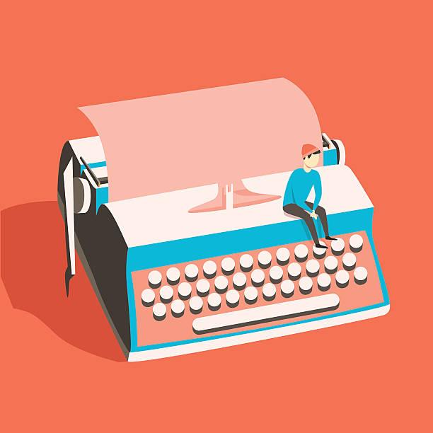 mann auf vintage-schreibmaschine steht. vektor-illustration. isolierte hintergrund - editorial stock-grafiken, -clipart, -cartoons und -symbole