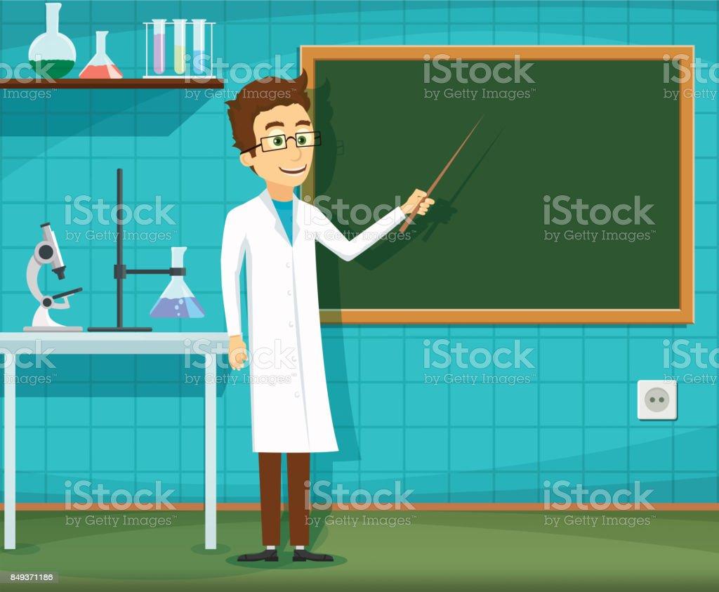 Man on white lab coat vector art illustration