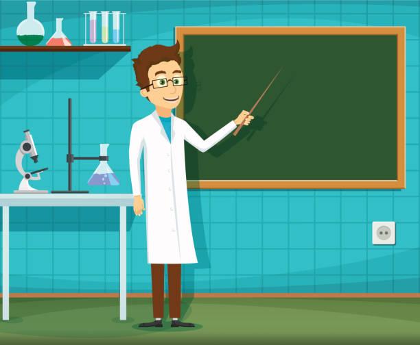 ilustrações, clipart, desenhos animados e ícones de homem de jaleco branco - aula de ciências