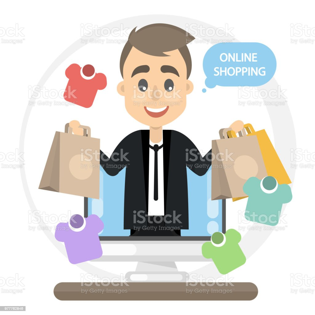 Man online shopping vector art illustration