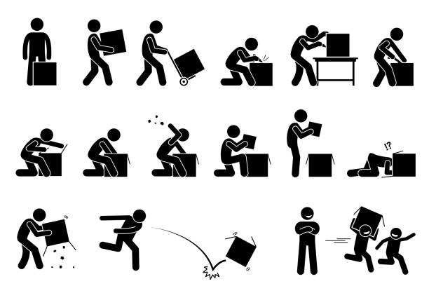 man opening and unboxing a box. - контурный рисунок stock illustrations
