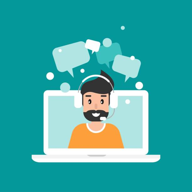 Man operator on laptop screen with headphones and microphone. Man operator on laptop screen with headphones and microphone. flat vector illustration on blue background. human with headset on laptop. consulting, job online, internet. Call center. help call centre illustrations stock illustrations