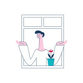 A man or a brunet man stands in a pose by the open window of an apartment next to a flower in a pot and spreads his hands. Concept of neighbors and neighborhood in the city, vector flat illustration.