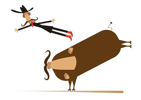 Man or cowboy falls from the bull illustration