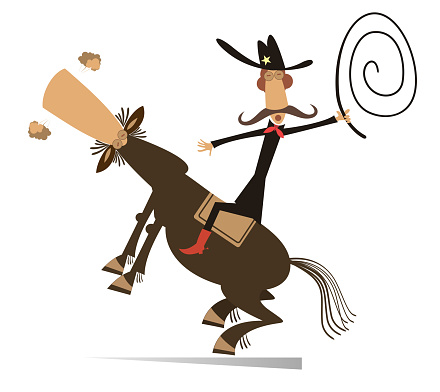 Man or cowboy rides on horse isolated illustration
