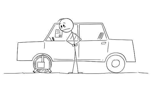 Man or Driver Watching Wheel Clamp on Parked Car, Vector Cartoon Stick Figure Illustration