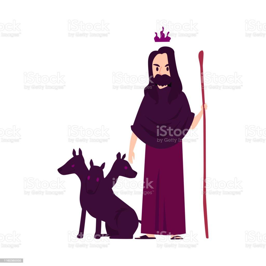 Vetores De O Deus Grego Do Homem Ou Do Hades Esta Com O Cao