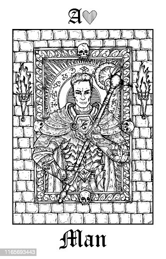 Man or knight. Tarot card from vector Lenormand Gothic Mysteries oracle deck.