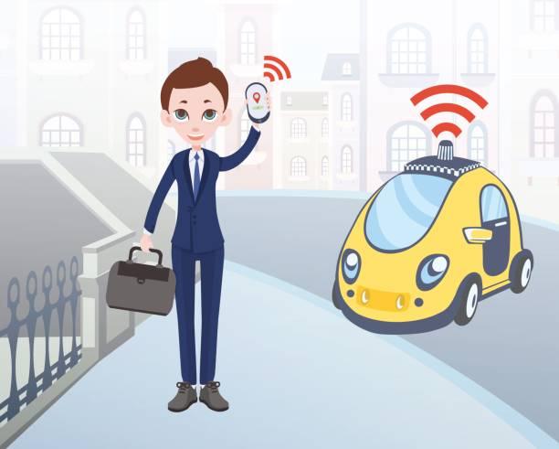 mann fahrerloses taxi mit mobilen anwendung bestellen. comicfigur geschäftsmann mit smartphone und auto auf stadt straße hintergrund. vektor-illustration. - sensorischer impuls stock-grafiken, -clipart, -cartoons und -symbole