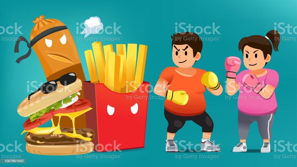Homem superar o desejo de comer junk food. - ilustração de arte em vetor
