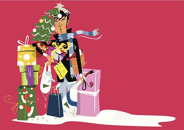 Hombre abrumado Después de comprar regalos de Navidad. - ilustración de arte vectorial