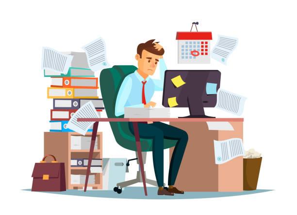 ilustrações, clipart, desenhos animados e ícones de excesso trabalho do homem no escritório ilustração do gerente dos desenhos animados que senta-se no trabalho da mesa do computador frustrado no esforço - carteira