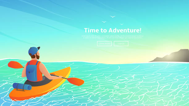 man paddling kayak in sea - kayaking stock illustrations, clip art, cartoons, & icons