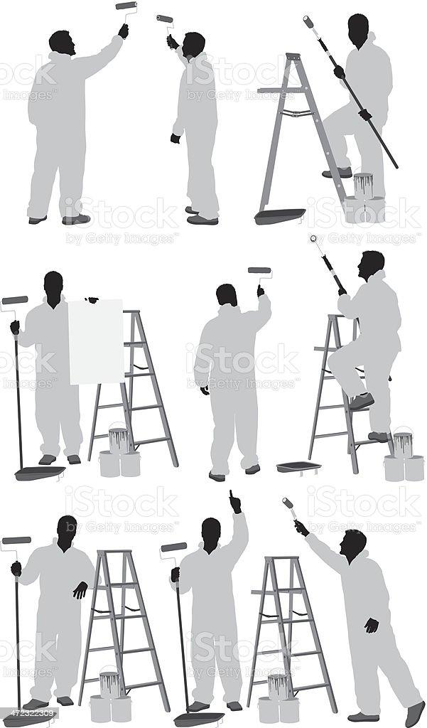 Man painting a wall vector art illustration