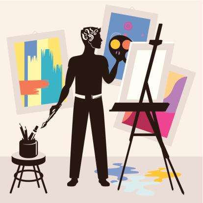 Man painting.