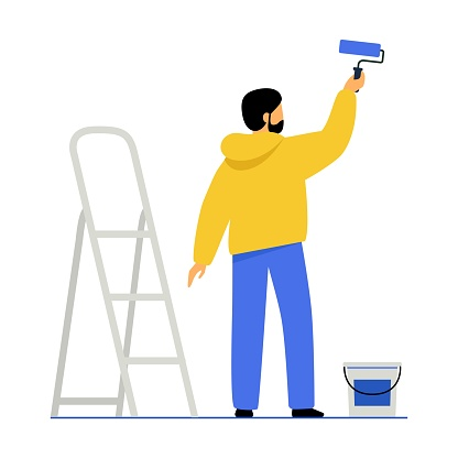 A man paints a wall with paint. The guy holds a paint roller in his hand, next to it is a stepladder and a can of paint. The male makes repairs in the room