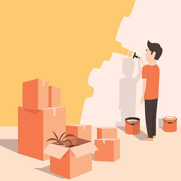 man paints the wall at home. cartoon style. vector illustration - neues zuhause stock-grafiken, -clipart, -cartoons und -symbole
