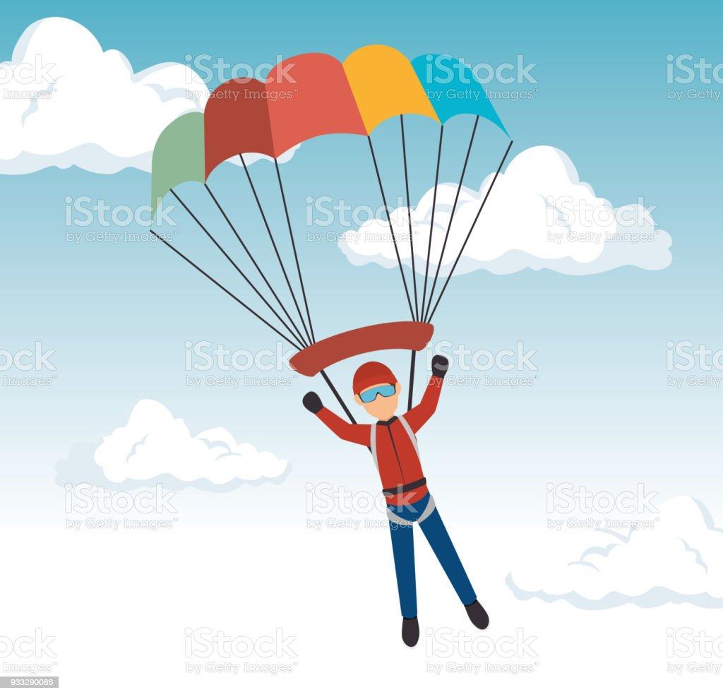 Ilustración de Diseño De Deporte Extremo De Paracaídas De Hombre y ...