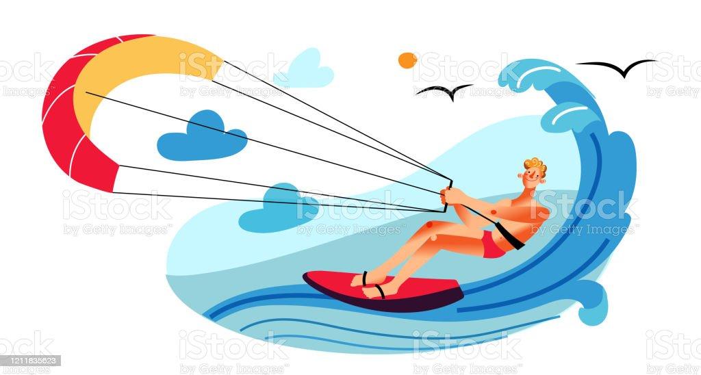 Homme Parasailing Sur La Planche De Surf Derriere Le Bateau A Moteur Vecteurs Libres De Droits Et Plus D Images Vectorielles De Activite De Loisirs Istock