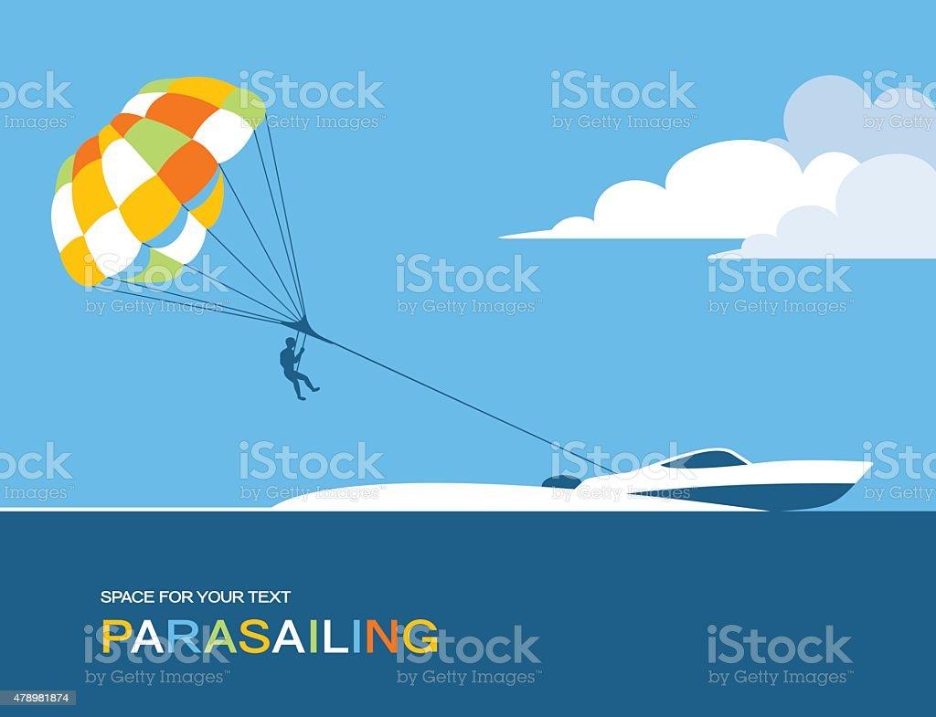 Ilustración de Hombre Paracaidismo En Lancha Con Paracaídas Detrás ...