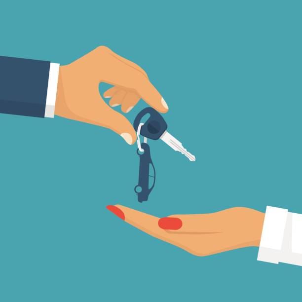 Man pass car keys female. Woman driving Man pass car keys female. Give, take the car key. Buy, rent a vehicle. Woman driving. Vector illustration flat design. Isolated on background. car key stock illustrations