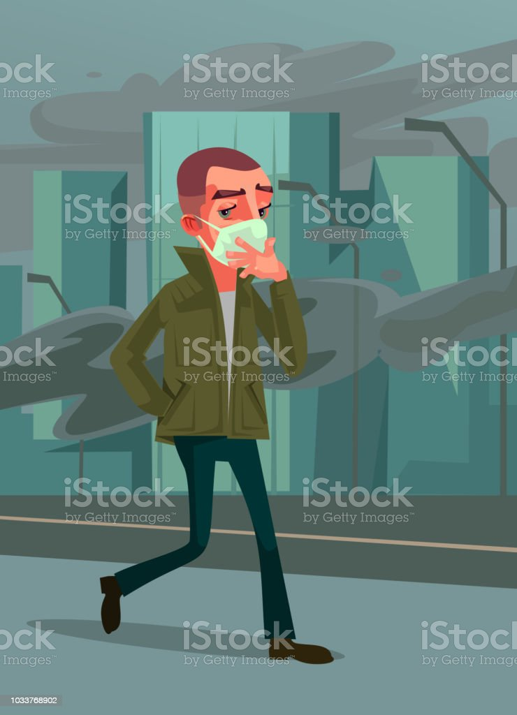 Man passer character wearing protective face gas mask and walking on street. Environment pollution emission danger city air concept. Vector cartoon illustration vector art illustration