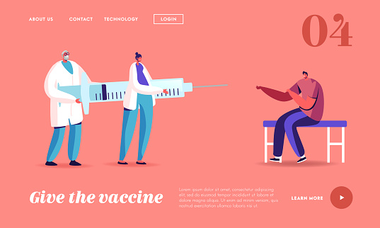 Man Patient Applying Drug against Virus and Disease Landing Page Template. Injection or Vaccination Syringe with Vaccine