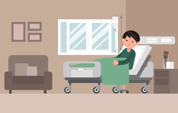Man Patient Resting In Hospital Bed. Man Patient Resting In Hospital Bed. Sad man lying in a hospital bed. Isolated vector illustration. cancer illness stock illustrations