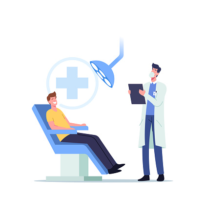 Man Patient Sitting in Medical Chair in Stomatologist Cabinet with Equipment. Doctor Character Conducting Teeth Check Up
