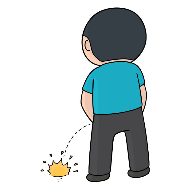 man peeing vector art illustration