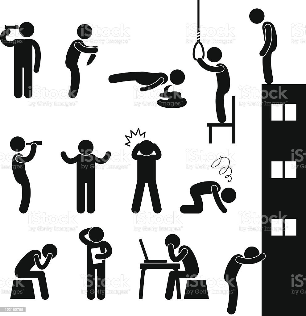 Man People Depression Sad Suicide Pictogram vector art illustration