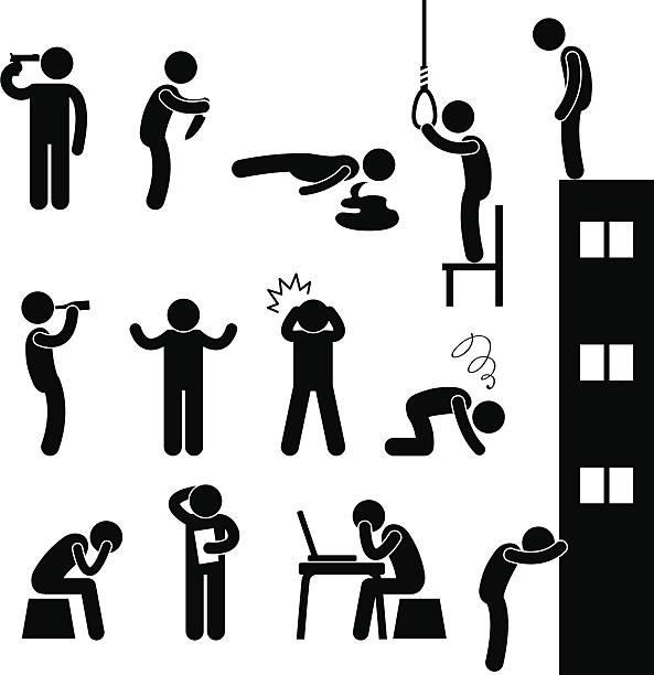 trauriger mann selbstmord pictogram menschen depression - kopfschüsse stock-grafiken, -clipart, -cartoons und -symbole