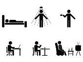 男は人々 すべての日アクションです。姿勢スティック図。寝て、食べて、働いて、アイコンのシンボル サイン ピクトグラム