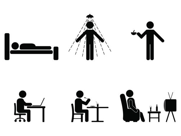 Man people every day action. Posture stick figure. Sleeping, eating, working, icon symbol sign pictogram Man people every day action. Posture stick figure. Sleeping, eating, working, icon symbol sign pictogram armchair stock illustrations