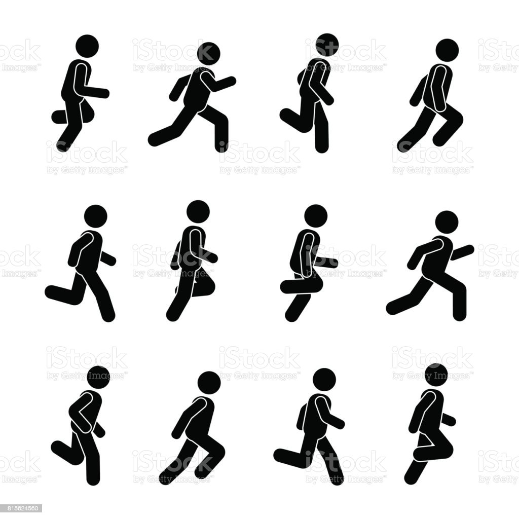 Man people various running position. Posture stick figure. Vector illustration of posing person icon symbol sign pictogram on white vector art illustration
