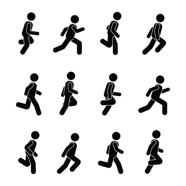 royalty free stick figure running clip art vector images