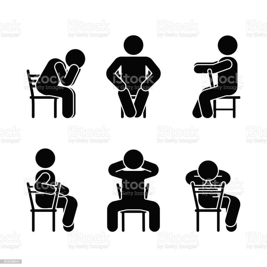 Man people various sitting position. Posture stick figure. Vector seated person icon symbol sign pictogram on white vector art illustration