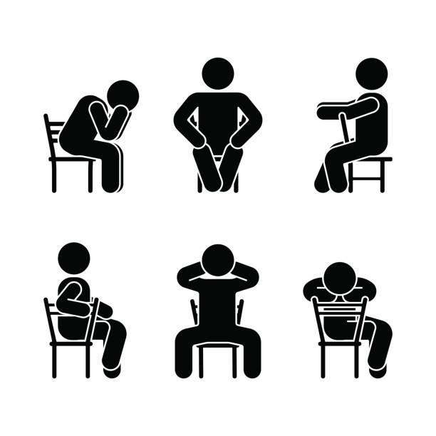 bildbanksillustrationer, clip art samt tecknat material och ikoner med man människor olika sittande ställning. kroppshållning stick figur. vektor sittande person ikonen symbol skylt piktogram på vit - korslagda ben