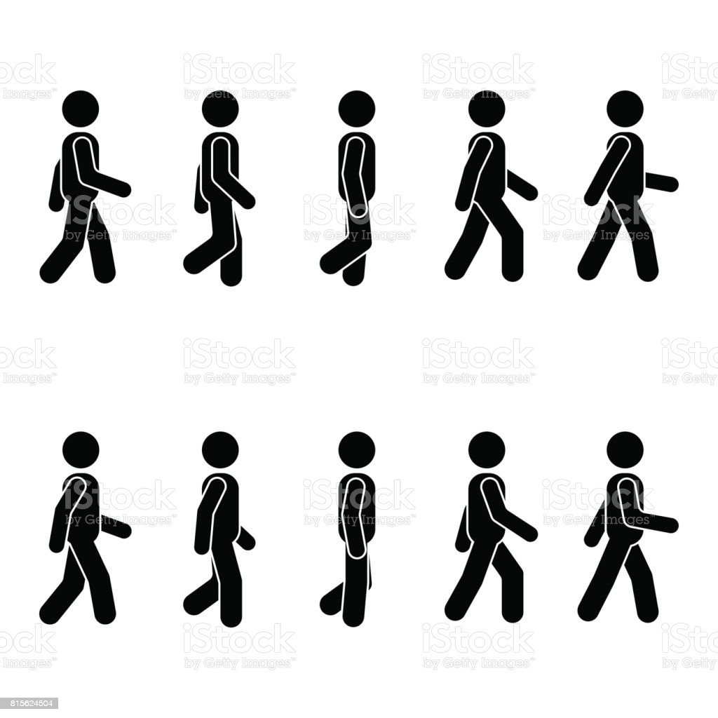 Man people various walking position. Posture stick figure. Vector standing person icon symbol sign pictogram on white vector art illustration