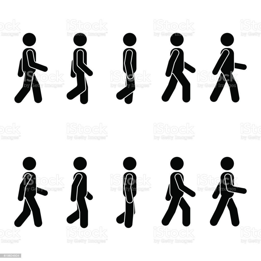 Homme de personnes différentes position de marche. Posture bâton figure. Vecteur position personne icône symbole signe pictogramme sur blanc - Illustration vectorielle